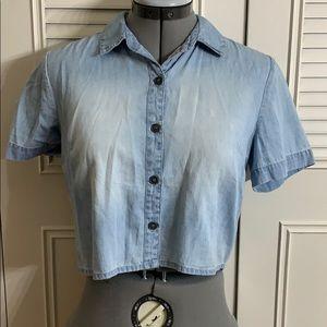 LA Hearts Cropped Denim Shirt